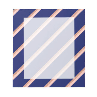 faux rose gold glitter and pink stripes pattern notepad