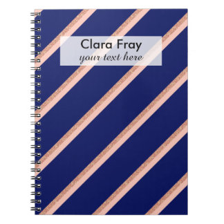 faux rose gold glitter and pink stripes pattern spiral note books