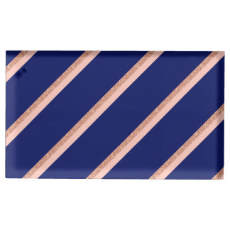 faux rose gold glitter and pink stripes pattern table card holder
