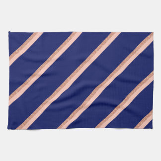 faux rose gold glitter and pink stripes pattern tea towel