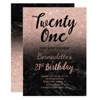 Faux rose gold glitter black marble 21st Birthday Card