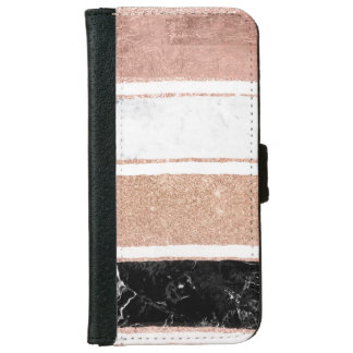 Faux rose gold glitter black white marble stripes iPhone 6 wallet case