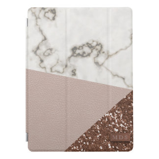 Faux Rose Gold Glitter Blush Leather Marble iPad Pro Cover