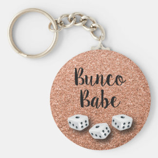 Faux Rose Gold Glitter Bunco Babe Key Ring