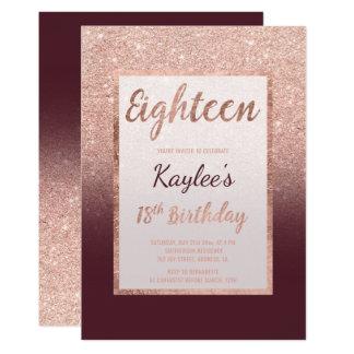 Faux rose gold glitter burgundy chic 18th Birthday Card