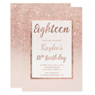 Faux rose gold glitter elegant chic 18th Birthday Card