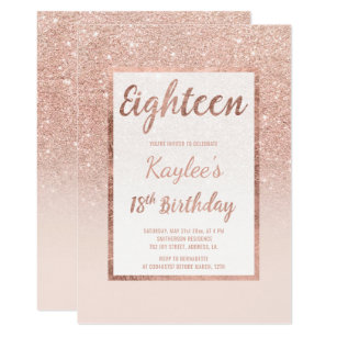 18th birthday invitations zazzle faux rose gold glitter elegant chic 18th birthday invitation filmwisefo