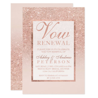 Faux rose gold glitter elegant chic Vow Renewal Card