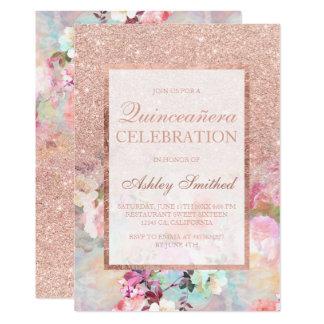 Faux rose gold glitter elegant floral Quinceañera Card