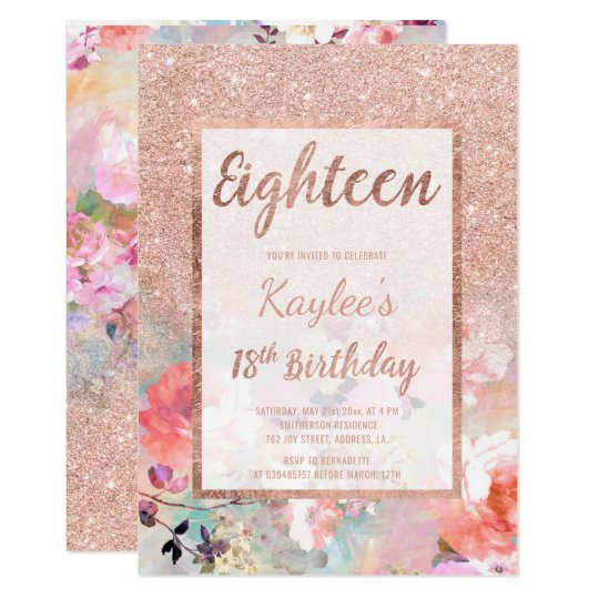 Faux Rose Gold Glitter Floral 18th Birthday Invitation