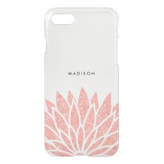 Faux Rose Gold Glitter Flower iPhone 8/7 Case