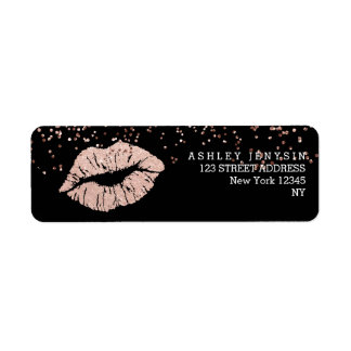 Faux rose gold glitter lips kiss makeup confetti return address label