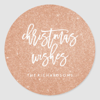Faux Rose Gold Glitter Look Christmas Wishes Round Sticker