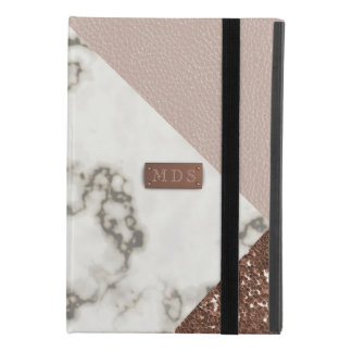 Faux Rose Gold Glitter Marble Blush Leather iPad Mini 4 Case