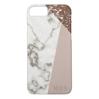 Faux Rose Gold Glitter Marble Blush Leather iPhone 8/7 Case