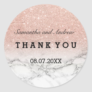 Faux rose gold glitter marble ombre Thank you Round Sticker