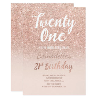 Faux rose gold glitter ombre 21st Birthday 13 Cm X 18 Cm Invitation Card