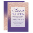 Faux rose gold glitter ombre purple Sweet 16 Card