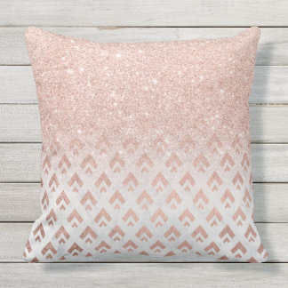 Faux rose gold glitter ombre rose gold foil triang outdoor cushion