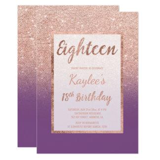 Faux rose gold glitter purple chic 18th Birthday Card