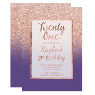 Faux rose gold glitter purple chic 21st Birthday Card