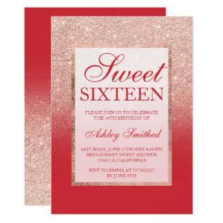 Faux rose gold glitter red chic Sweet 16 Card