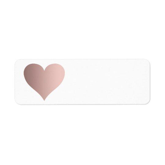 faux rose gold heart return address label