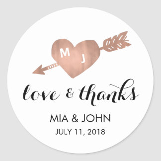 Faux Rose Gold Heart Thank You Wedding Favor Round Sticker