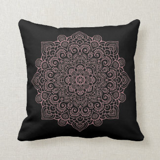 Faux rose Gold Intricate Lace Mandala black Cushion