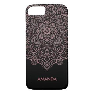 Faux Rose Gold Intricate Lace Mandala black iPhone 8/7 Case