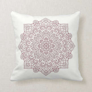 Faux rose Gold Intricate Lace Mandala WHITE Cushion