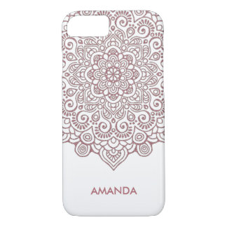 Faux Rose Gold Intricate Lace Mandala white iPhone 8/7 Case