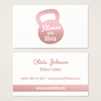 Faux Rose Gold Kettlebell Fitness Personal Trainer Business Card