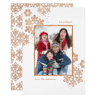 Faux Rose Gold Let it Snow! Photo Christmas Card
