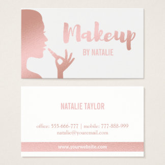 Faux Rose Gold Lipstick Makeup Business Card