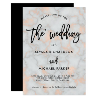 Faux Rose Gold Look and Gray Marble | Wedding Card