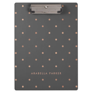 Faux Rose Gold Look Dots on Smoky Gray Clipboard