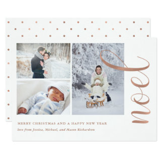 Faux Rose Gold Look | Noel with Photos Card