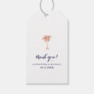 Faux Rose Gold Look Palm Tree Wedding Gift Tags