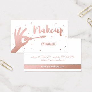 Faux Rose Gold Makeup Artist Business Card