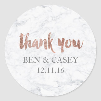 Faux Rose gold marble typography wedding thank you Classic Round Sticker