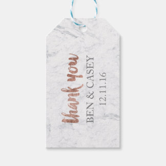 Faux Rose gold marble typography wedding thank you Gift Tags
