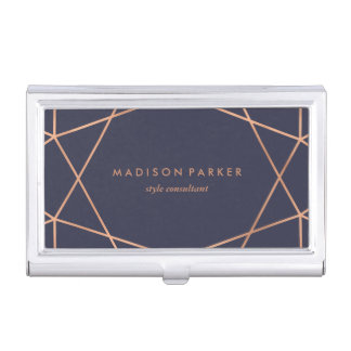 Faux Rose Gold Modern Geometric Design on Blue Business Card Holder