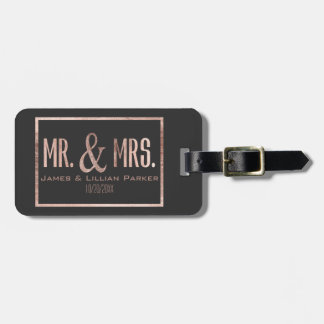 Faux Rose Gold Mr. and Mrs. Monogram Wedding Luggage Tag