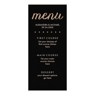 Faux Rose Gold on Black Dotted Wedding Menu Full Colour Rack Card