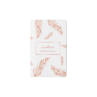 Faux Rose Gold Pink Color Feathers And Custom Text Pocket Moleskine Notebook