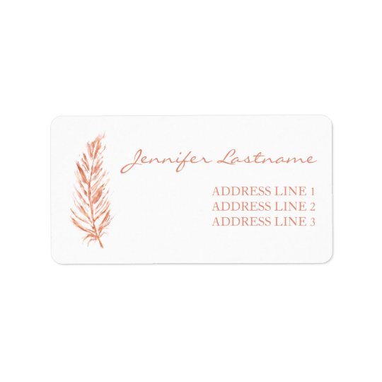 Faux Rose Gold Pink Colour Feather And Custom Info Address Label
