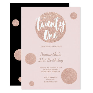 Faux rose gold polka dots blush 21st Birthday Card