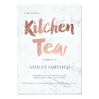 Faux rose gold script marble kitchen tea bridal card