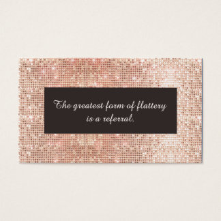 Faux Rose Gold Sequins Cosmetology Referral Card